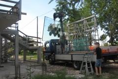 Nostro camion gru montaggio vetrata isolante  - Imola